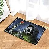 SRJ2018 Manto Negro Horrible Horror cráneo Blanco Muerte Hermosa Flor Rosa roja Súper Absorbente, Antideslizante Estera o Estera de Puerta, Suave y cómodo
