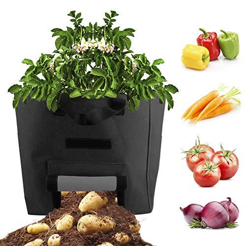 Warooma Garden Grow Bags, 2 Packungen 15 Gallon Fenster Gemüsebeutel Filz Kartoffel Pflanzbeutel Vlieswurzel Beutel Hochbeet Pflanzkübel für Pfeffer Kartoffeln Tomaten Zwiebel Obst