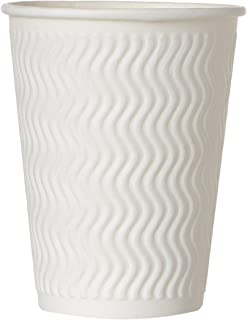 Hotpack White Embossed Paper Cups + Lid, 10 Pieces, 12 oz.