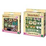 Sylvanian Families 5028 Set Accesorios para cocinar + 4717 Set Accesorios Cena para Dos