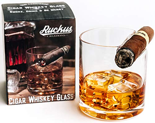 Ruckus Creations Old Fashioned Cigar Whiskey Glass with Cigar Holder- Whiskey Gifts for Men who Have Everything