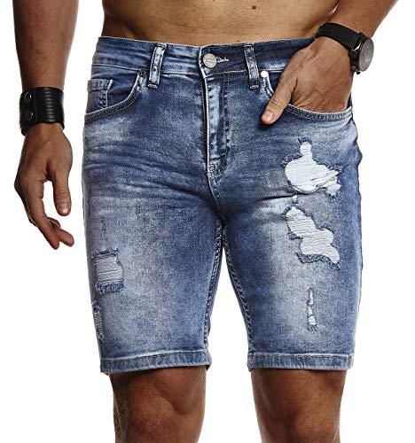 Leif Nelson Herren Männer Jungen Sommer Kurze Biker Jogger Jeans Hose Shorts Jeanshose Chinos Cargo Bermuda Basic 5-Pocket Destroyed Used Stretch Freizeithose Denim Slim Fit LN1977; W34; Blau