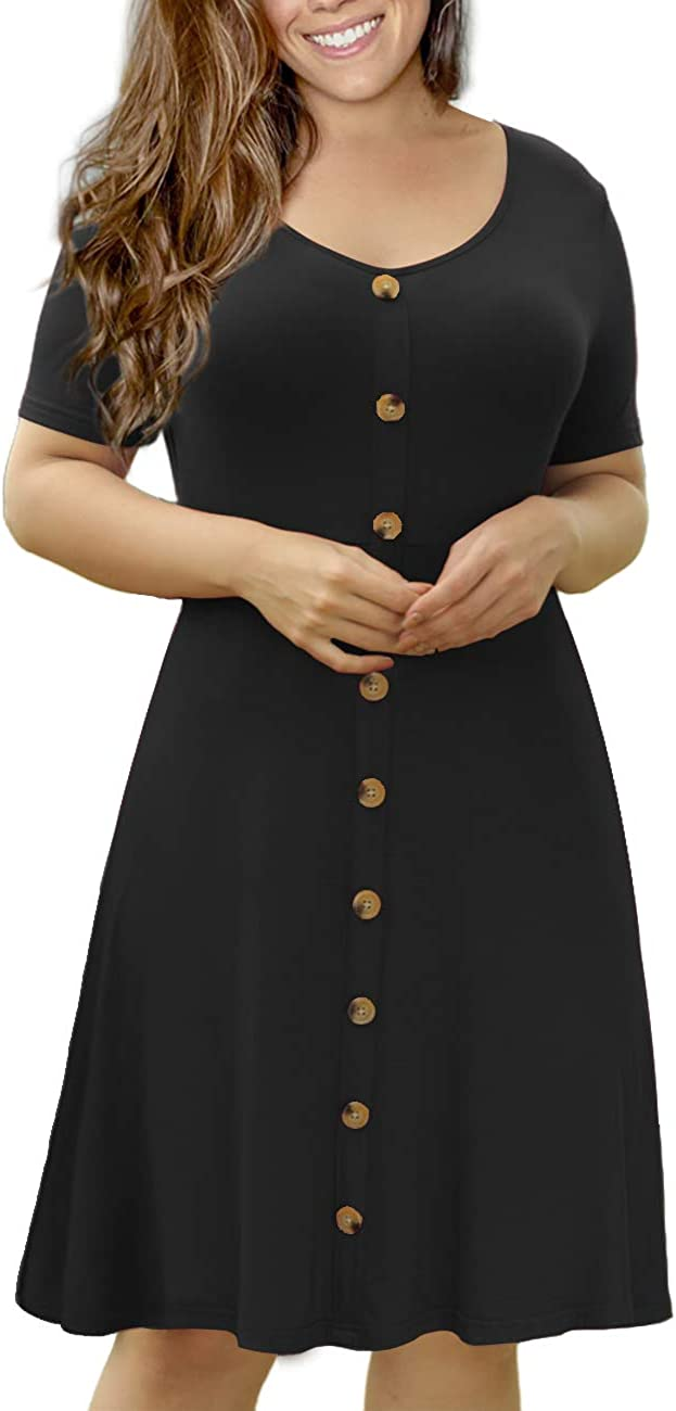 VOIANLIMO Women's Summer Plus Size Short Sleeve Button Down Causal Dress