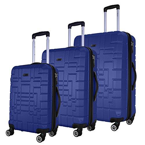 SHAIK Serie XANO Maletas De Viaje Set De 3 Piezas - TSA CASTILLO 45/78/124 Capacidad De Litros Cubierta Dura Y Flexible Equipaje De Mano Con Ruedas 360⁰ De Rotación (Azul, 3 Piezas)