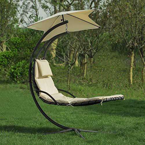 SoBuy OGS39-MI Schwebeliege mit Sonnenschirm Relaxliege Schwingliege Schaukelliege Hängesessel Hängeliege Sonnenliege Belastbarkeit 120kg beige BHT ca: 170x210x115cm - 3