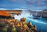 wandmotiv24 Fototapete Godafoss-Wasserfall bei Sonnenuntergang XL 350 x 245 cm - 7 Teile Fototapeten, Wandbild, Motivtapeten, Vlies-Tapeten Island, Landschaft M1040