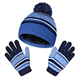 Boys Hats Gloves Set Winter Warm Hat Beanie 2Pcs Knitted Hat with Soft Fleece Lined Skull Cap for Cold Weather Blue