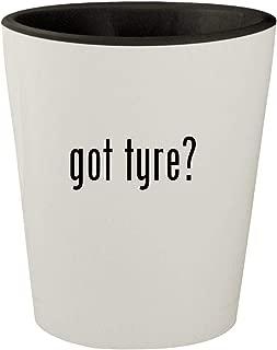 got tyre? - White Outer & Black Inner Ceramic 1.5oz Shot Glass