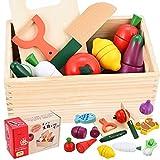 GOLDGE 14PCS Frutasy Verduras Juguete de Madera, Juego de Roles Corte de Cocina para Niños, Juguete para Cortar Temprano Eeducativos Set de Alimentos de Corte Juguete del Bebé