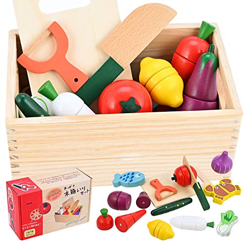 GOLDGE kinderküche Zubehör Holz, 14Pcs Spielküche Zubehör Holz Hölzernes Küche Kinder Spielzeug mit Gemüseobstfischkrabbe für Kinder Lernspielzeug Pädagogisches Rollenspiele Geschenk Spielzeug