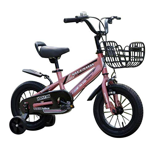 Kids Bike Boys Girls Folding Bicycle with Training Wheels,Hand Brake and Basket -Smart Start Steel Frame, Easy Tool-Free Assembly,Mini Small Portable Outdoor Bike Student (Pink)