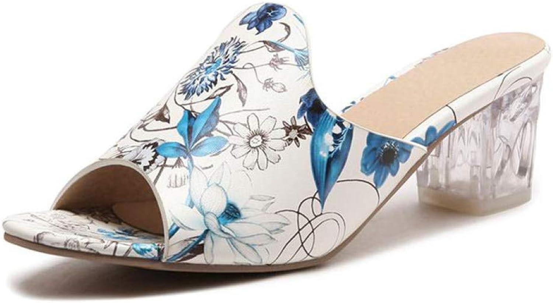 Summer Women High Heel Slippers Casual Peep Toe Slip On Sandals Ladies Outdoor Patent Leather Footwear