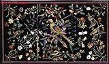 Gifts And Artefacts Mesa de comedor de mármol negro de 240 cm x 100 cm, mesa de comedor Pietra Dura Art con piedras preciosas, diseño de loro y flores
