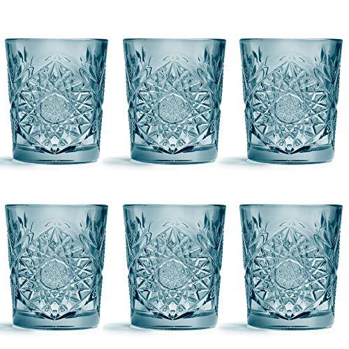 Vaso Hobstar Azul de Libbey – 355 ml / 35,5 cl - 6 unidades – diseño vintage – apto para el lavavajillas