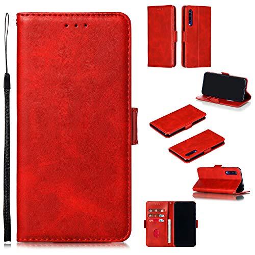 SNOW COLOR Cover Xiaomi Mi 9SE Portafoglio, Flip Custodia Portafoglio in PU,[Funzione Staffa]con Slot per Schede e Chiusura Magnetica per Xiaomi Mi 9 SE - COYKB010608 Rosso