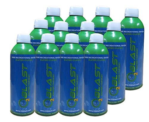 95% Pure Oxygen Supplement, (9 Liter Oxygen Canister) Quick Recovery for Exercise, Hangovers, and Altitude Sickness. Sanitary flip top Cap - 12 Pack - All Natural