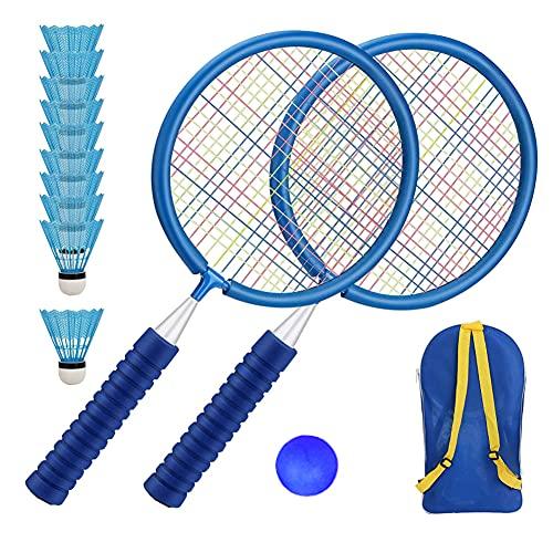 Raquetas de bádminton para niños,Set de bádminton para niños,Set de Raquetas de bádminton,Raqueta de práctica Profesional,para el Juego de Deportes de Playa al Aire Libre(azul)