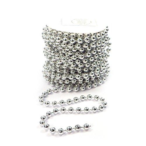 Sepkina Perlenband Perlenkette Perlengirlande Perlenschnur Dekokette Hochzeitskette Deko Tischdeko Girlande Silber (S-P10-03-SF) (0,70€/m)