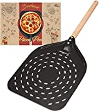 Pala perforada para pizza de aluminio anodizado duro de 40 cm con mango largo, para pizza casera,...