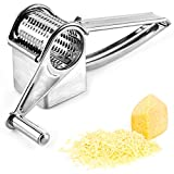 Rotary Cheese Grater,Thicken Stainless Steel Kitchen Vegetable Shredder,Multifunctional Super Sharp Grater for Cheese, Vegetables, Chocolate