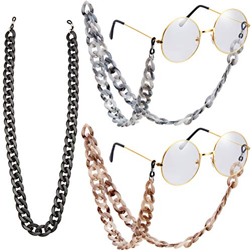 3 Pieces Acrylic Eyeglass Chain Sunglasses Chains Twist Link Eyewear Lanyards (Brown, Grey, Black)