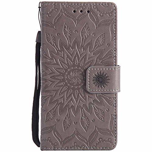 Dfly Xperia M2 Hülle, Premium Slim PU Leder Mandala Blume prägung Muster Flip Hülle Bookstyle Stand Slot Schutzhülle Tasche Wallet Case für Sony Xperia M2 / M2 Aqua, Grau