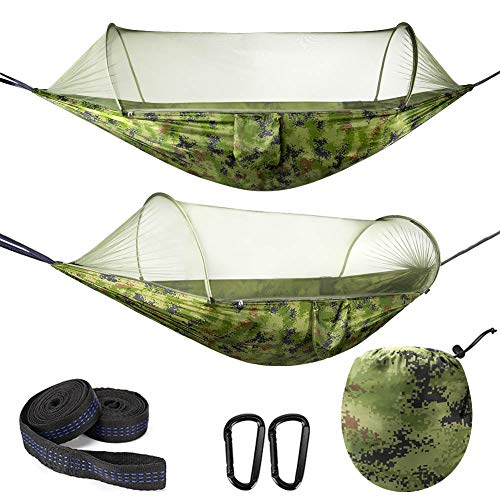 Hamaca para Acampar con mosquitera, Hamaca de Nailon de paracaídas Ligera Doble portátil con mosquitera con Correa de árbol, 114 x 55 Pulgadas