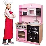 BAKAJI Cucina in Legno Giocattolo per Bambini con Anta e Cassetti Lavagna Lavello in Plastica 4 Fornelli Forno Apribile e Microonde Chiusure Magnetiche 60 x 30 x 90 cm Colore Rosa
