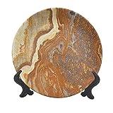 Plato decorativo de cerámica de mármol de 15,24 cm, único tono tierra, estructura travertina natural, para decoración de mesa de comedor, mesa o hogar