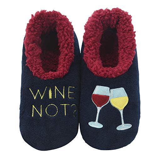 Snoozies Pairables Womens Slippers - House Slippers - Wine Not? - Large