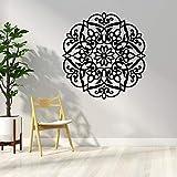 Runas árabes y patrón de flores pegatinas de pared sala de estar familiar papel tapiz artístico mural de flores autoadhesivo A6 57x59cm