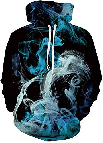 Männer Männer Hoodies Frauen Hoodies 3D Grafik Cool Print Pullover Unisex Langarm Sweatshirt mit Tasche für Herbst Winter Outfits-Blauer Rauch_M.