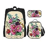 Mochilas vintage arreglo floral con bolsa de almuerzo, estuche para lápices, bolsa universitaria, viajes, conjuntos de mochila