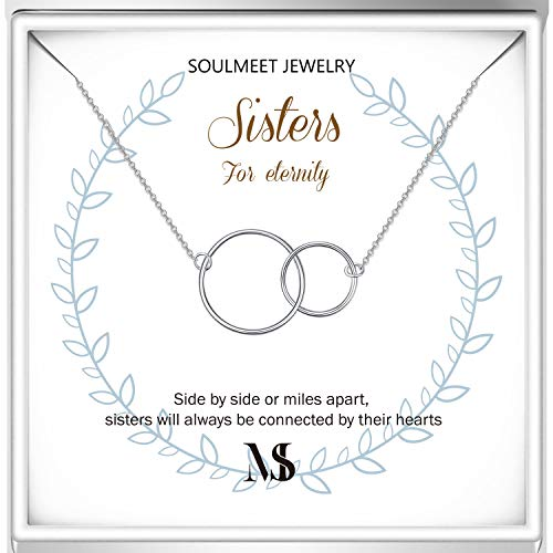 SOULMEET Sisters Necklace Gifts from Sister, Sterling Silver Sister Necklace, Christmas Mother's Day Birthday Jewelry for Sister