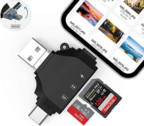 SD-Kartenleser, Micro SD/TF Speicherkartenleser mit 4 in 1 USB/Typ C/Micro-USB-Adapter