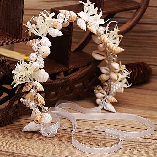 EDOBLUE Quantity 1 Bridal jewelry handmade conch shell crystal Headband Crown Tiara Party Wedding Headband Women Bridal Princess Birthday Girl...