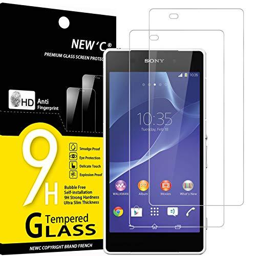 NEW'C 2 Stück, Schutzfolie Panzerglas für Sony Xperia Z2, Frei von Kratzern, 9H Festigkeit, HD Bildschirmschutzfolie, 0.33mm Ultra-klar, Ultrawiderstandsfähig