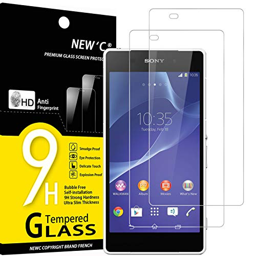 NEW'C 2 Unidades, Protector de Pantalla para Sony Xperia Z2, Antiarañazos, Antihuellas, Sin Burbujas, Dureza 9H, 0.33 mm Ultra Transparente, Vidrio Templado Ultra Resistente