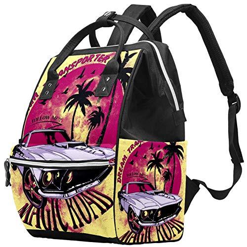 Palmier automobile Magic Road Nappy Changing Bag Diaper Sac à dos avec poches isolées, sangles de poussette, grande capacité multifonctionnel élégant sac à couches pour maman papa en plein air