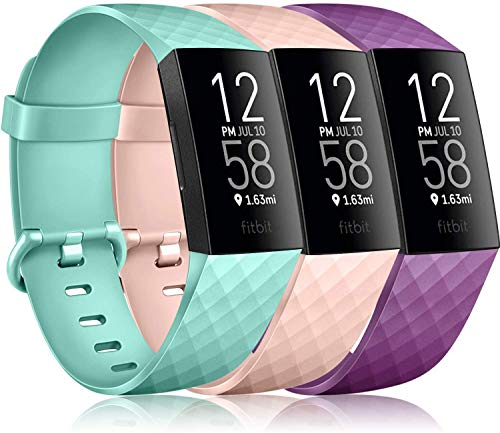 Pack 3 Silicone Bands for Fitbit Charge 4 / Fitbit Charge 3 / Charge 3 SE Replacement Wristbands for Women Men Small Large(Without Tracker) (Large: for 7.1
