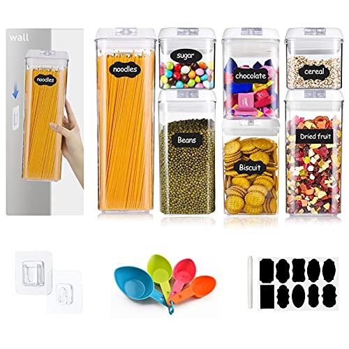 YADIMI Botes Hermeticos Cocina 10 pares de ganchos de pared, juego de cucharas, 10 etiquetas y lápiz, ideal para harina, espaguetis, botes de plástico transparente con tapas duraderas (Blanco)