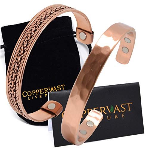 Copper Bracelets for Arthritis - for Men and Women 100% Copper with Powerful Therapy Magnets Effective and Natural Relief for Arthritis Set of 2(Hammered and Chain Inlay)