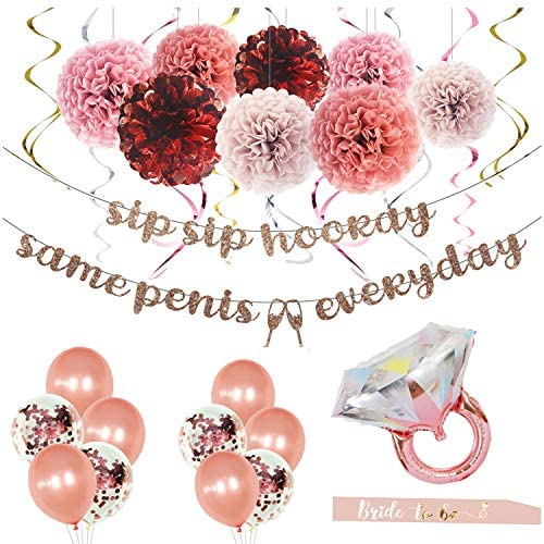 MEYSIMOON Bachelorette Party Decorations Bridal Shower Supplies Rose Gold Kit Ring Balloons product image