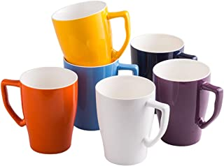 Porcelain Mug 15 Ounce Mug for Coffee Tea or Latte, 6 Bright Color Set, Ceramic Mug Set