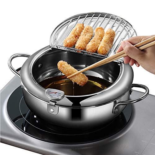 Tempura Frying Pot, Japanese Style 304 Stainless Steel Deep Fryer Pan With Thermometer,Lid And Oil Drip Drainer Rack for Turkey Legs, Chicken Wings, French Fries (24cm/9.4inch) …