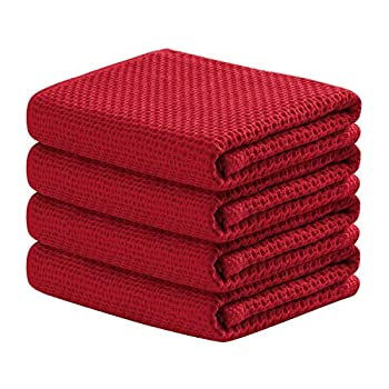 100% Cotton Kitchen Towels 4-Pack Waffle Weave Ultra Soft Absorbent Dish Towels Quick Drying Kitchen Dish Cloths 18 in x 28 in Red