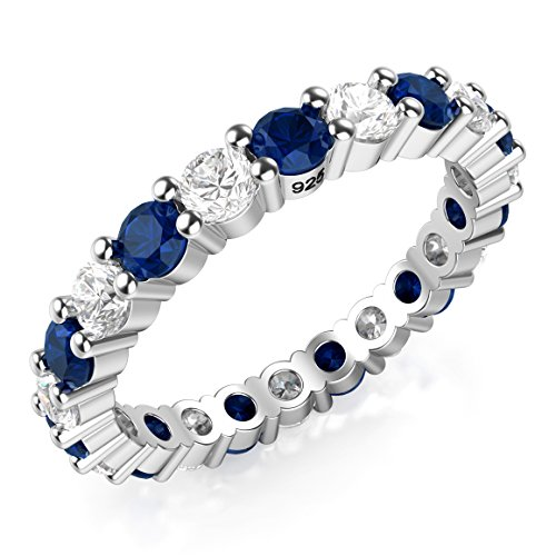 Metal Factory Sz (7) 3.50MM Sterling Silver 925 White & Blue CZ Eternity Engagement Wedding Band Ring