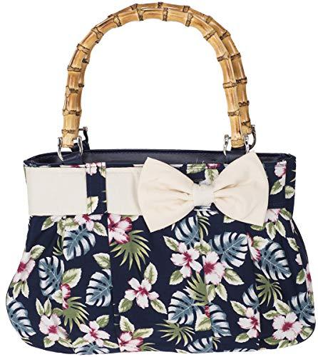 Küstenluder Damen Handtasche Viona Bambus Hibiskus Shopper Blau