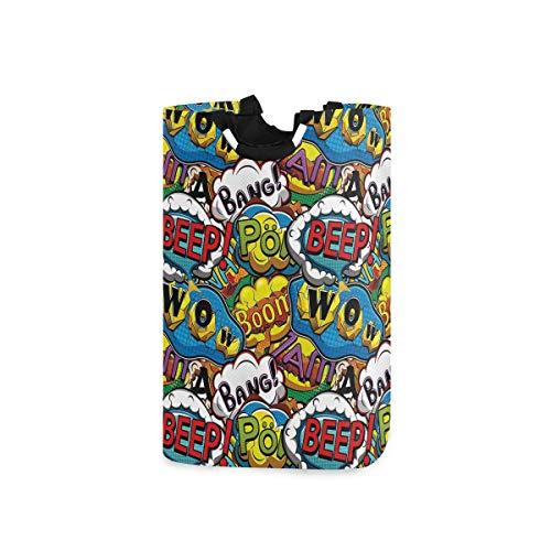 ZOMOY Multifunktionale Faltbarer Schmutzige Kleidung Wäschekorb,Comics Speech Bubbles Beep Wow mit lebendigen Old Effects Boys Supernatural Print,Household Wäschebox Spielzeug Organizer