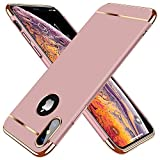 TORRAS Lock Series iPhone X Case/iPhone Xs Case 3-in-1 Luxury [3rd Generation] Anti-Scratch Hard Cover with Electroplated Frame Case for iPhone Xs/X, Rose Gold